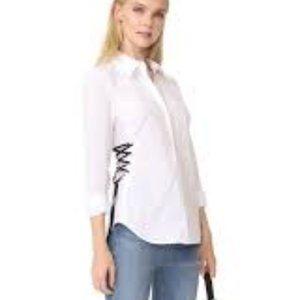 Ramy Brook Lila Lace Up Button Down Shirt XXS